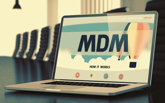 Mdm - on Laptop Screen. Closeup. 3D Illustration.