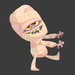 Cartoon walking mummy character. Vector clip art illustration of mummy monster for Halloween isolated