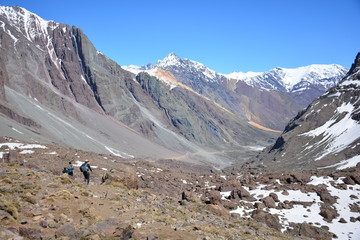Landscape of mountain and volcanoes in Chile