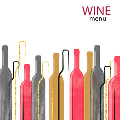 Abstract watercolor wine alcohol background with place for text. Vector illustration of wine bottles.