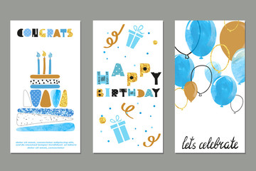 Set of watercolor birthday greetings card design in blue and gold colors. Vector illustration.