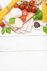 food ingredients on wooden table