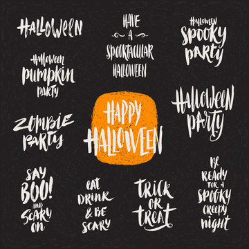 Halloween vector illustration. Set of hand drawn brush calligraphy for Halloween greeting, invitation or poster.