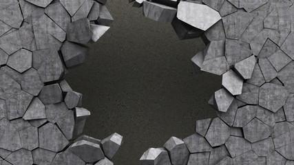 Beton 3D dziura w ścianie