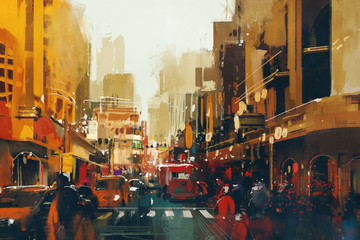 urban city street with grunge texture,illustration painting