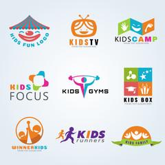 Kids child sport and fun logo vector set design