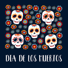 Dia de Los Muertos greeting card, invitation. Mexican Day of the Dead. Ornamental sugar skulls, flowers. Hand drawn vector