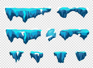 Funny cartoon ice stones, road elements for game design, vector assets