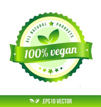 100% vegan badge label seal