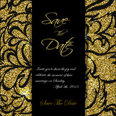 Cute cards with gold Confetti glitter. Perfect for valentines day, birthday, save the date invitation. Vector