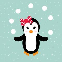 cartoon penguin girl with snowball