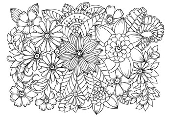 Doodle floral pattern in black and white. Page for coloring book. Zentangle drawing. Flower carpet in magic garden