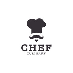 chef cook logo icon toque, chefs hat trend flat style brand mustache beard stylinga