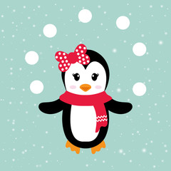 cartoon penguin girl with scarf and snowball