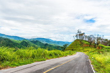 Empty curved asphalt road on green forest on mountain with cloud above