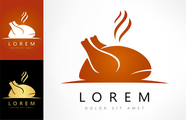 Roast chicken sign icon. Hen bird meat logo.