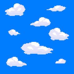 Vector pixel art cloud collection set