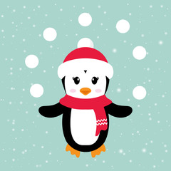cartoon penguin girl with hat and snowball
