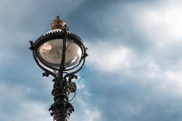 Beautiful Lamppost and blue sky in London city, United kingdom.