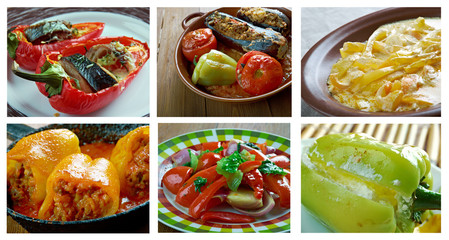 set of different peppers dishi .