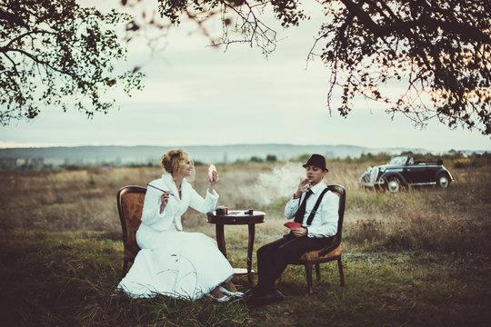 beautiful couple in the wedding  retro photo shoot