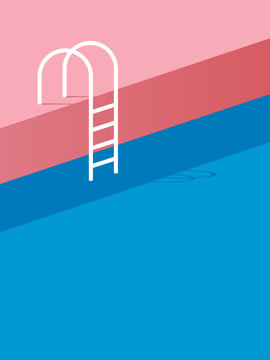 Swimming pool with ladder or steps in vintage retro poster style flat design.