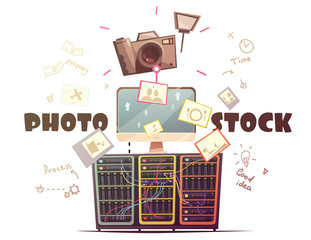 Photo Microstock Industry Concept Retro Illustration
