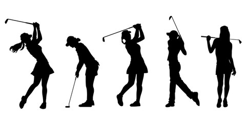 golf girl silhouettes