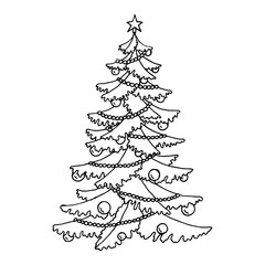 Christmas tree graphic art black white isolated sketch illustration vector
