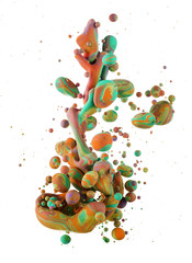 A macro shot of ink Colors mixing under water forming interesting accidental liquid sculptures. Bubbles of color isolated on white background.