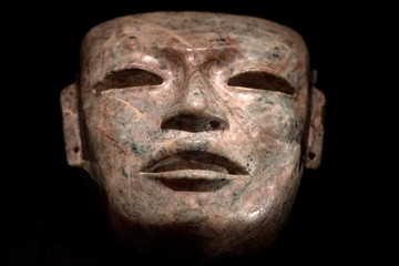Maya aztec mexican funeray stone carved mask