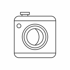 Photo camera icon in outline style on a white background vector illustration