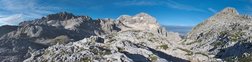 panorama of Rz, Triglav and Begunjski vrh from Dom Valentina Stanica mountain hut in Julian Alps in Slovenia