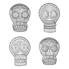 Set of Mexican sugar skulls.Day of The Dead colorful Skull with floral and ethnic ornament.