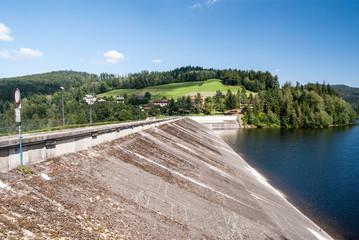 diversion dam of Jezioro Czernianskie water reservoir on Wisla river in Beskid Slaski mountain range