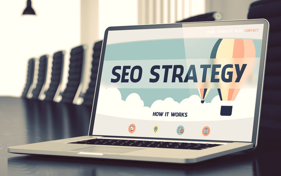 SEO Strategy Concept on Laptop Screen. 3D Illustration.