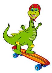 dinosauro con skateboard e casco
