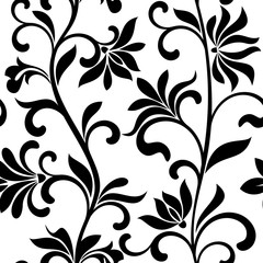 Seamless pattern with abctract black flowers on a white background. Decorative floral vertical pattern