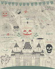 Vector Hand Sketched Doodle Halloween Icons on Crumple Paper