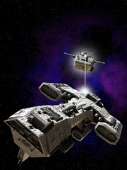 Deep Space Battle - science fiction illustration