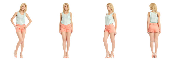 Young sexy blond woman in coral shorts isolated