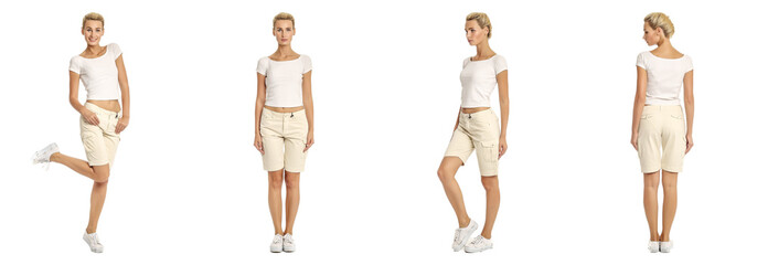 Young sexy blond woman in beige shorts isolated