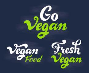 Vegan - handwritten lettering set for shop, restaurant, cafe menu.