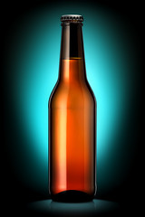 Bottle of beer or cider with clipping path isolated on dark blue background