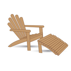 Wooden garden armchair with footrest