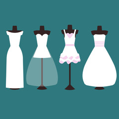 Vector set of wedding dresses in white and pink. four types of dresses, long and short