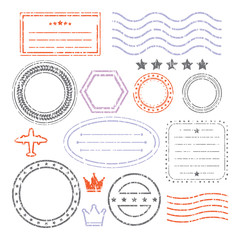 Document And Blank Grunge Stamps Set