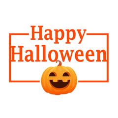 Card orange pumpkin. Happy Halloween. Vector illustration