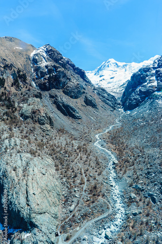 Mountain And Alps At Matterhorn In Zermatt Switzerland Stock Photo
