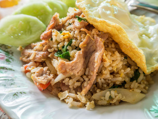 Fried rice with pork and fried egg, Thai food